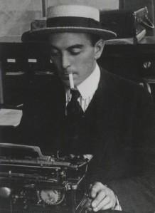 Ring Lardner at typewriter